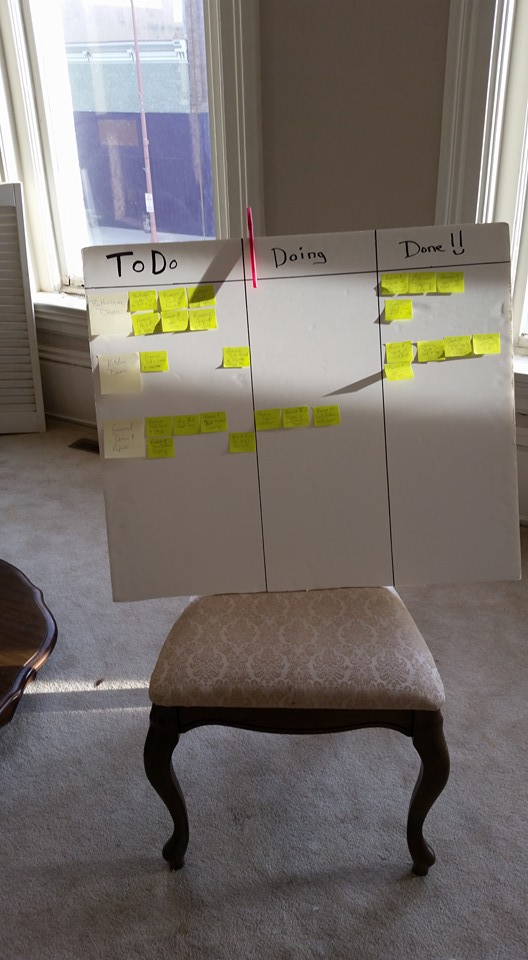 Apartment demo Scrum board is seeing some progress too.